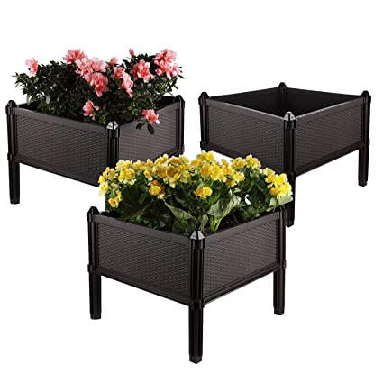 T4U Plastic Assemble Garden Planter Raised Elevated Garden Bed, For Herbs,  Flowers, Vegetable