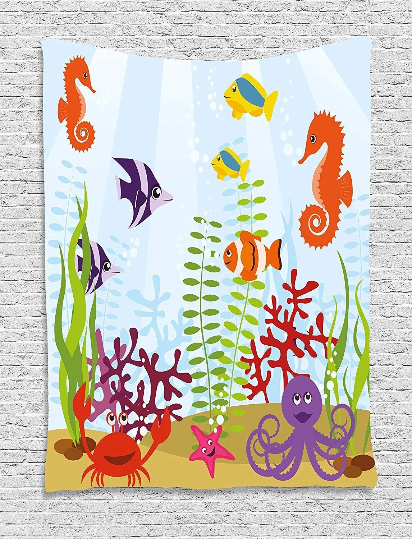 THndjsh Aquarium Tapestry, Friendly Sea Animals Tropical Aquatic Habitat Collection Seahorse Crab Octopus, Wall Hanging for Bedroom Living Room Dorm, 60 W X 80 L Inches, Multicolor