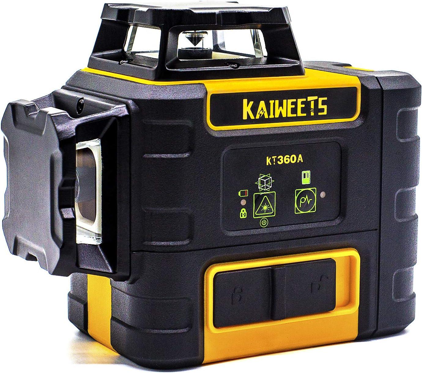 Halterung KAIWEETS KT360A Rotationslaser mit Pulsfunktion Zieltafel mit 2 aufladebaren Lithiumbatterien Arbeitszeit bis 44h Kreuzlinienlaser Gr/ün 3x360/° Arbeitsreichweite: bis 60m mit Empf/änger