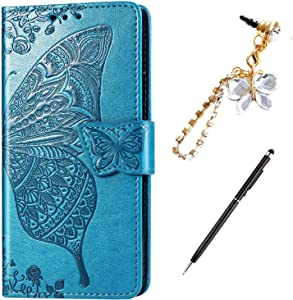 Case for iPhone XR Cover,Embossing Mandala Butterfly Rose Vine Flip Folio Wallet Case PU Leather Stand Card Slots Protective Case Cover + Dust Plug Stylus for iPhone XR Wallet Case,Blue