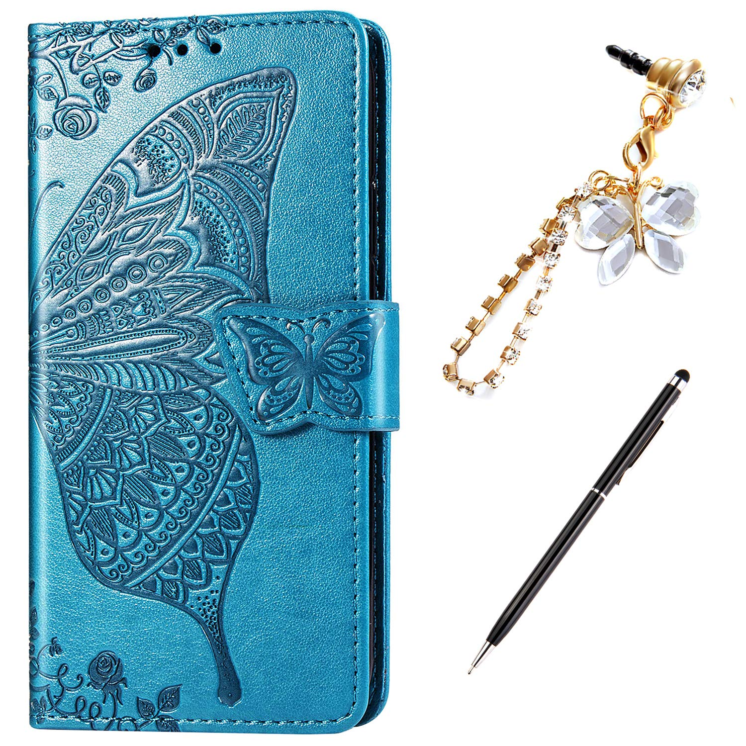 ikasus Case for iPhone XR Cover,Embossing Mandala Butterfly Rose Vine Flip Folio Wallet Case PU Leather Stand Card Slots Protective Case Cover + Dust Plug Stylus for iPhone XR Wallet Case,Blue by ikasus