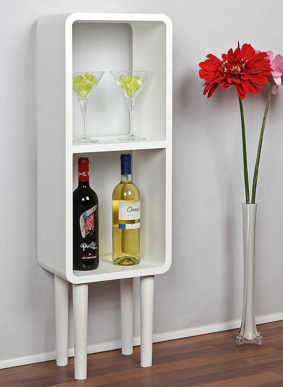 ts-ideen Cube Rack Shelf Retro Lounge Design Wooden legs MDF White ...