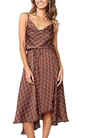 6eafe0a5df7 ECOWISH Womens Backless Straps Plaid Dress Tie Waist High Low Hem Casual  Midi Dress Brick Red