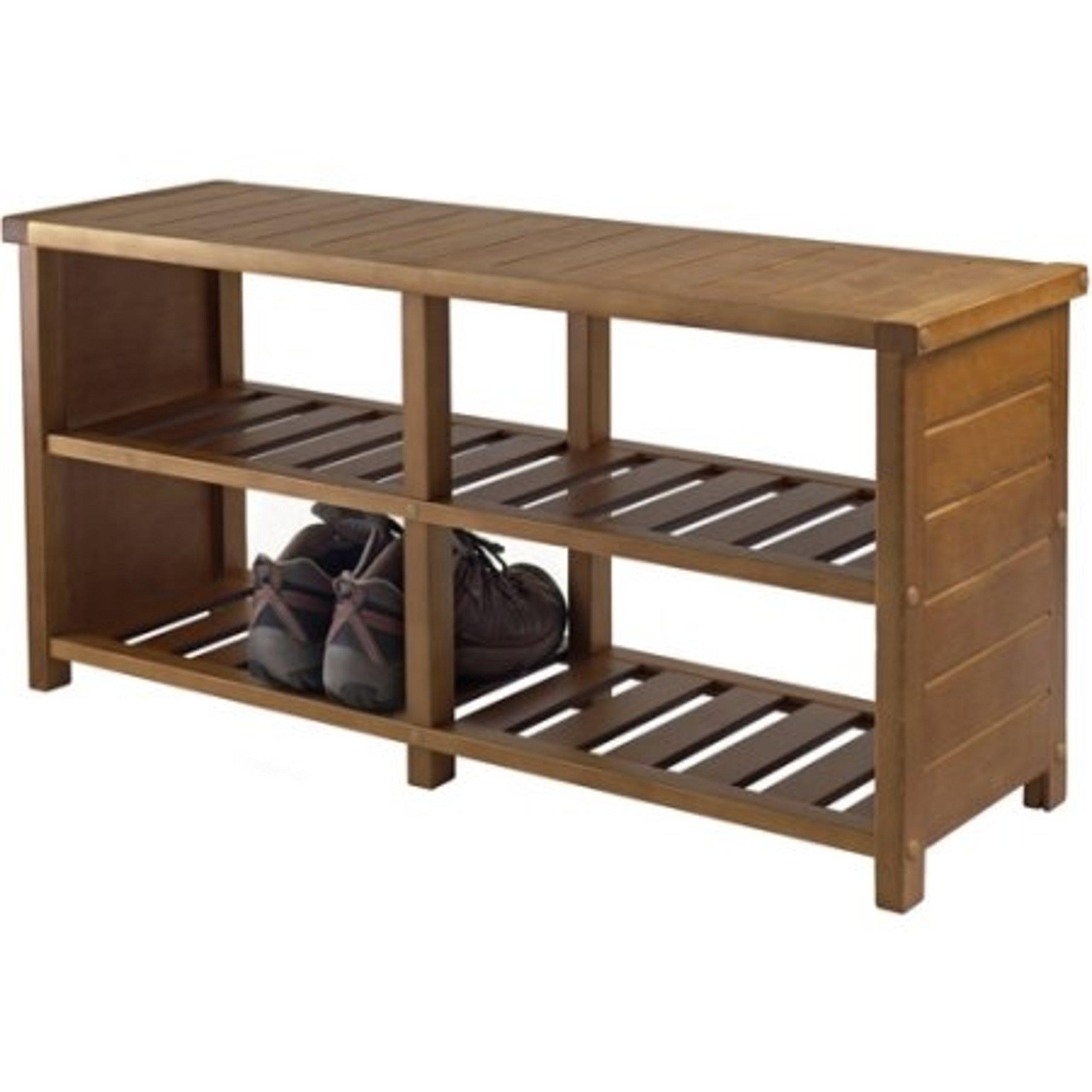 Solid Wood Entryway Slated Shelves Shoe Rack Bench, Teak