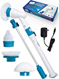 Power Spin Scrubber Cleaning Brush - Deluxe Electric Scrubber with 3 Brush Heads, Extension Pole & Rechargeable Battery - Turbo Cordless Handheld Bathroom, Floor, Tile, Wall, Shower & Bathtub Cleaner