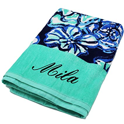 Personalized Beach Towels Monogrammed Gifts For Kids Her Him Custom Embroidered Towel Flower