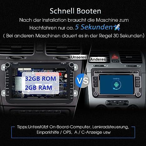 junsun Android 6.0 Auto Radio Reproductor de DVD 2 Din 8 pulgadas pantalla táctil para Volkswagen unstert Sistema GPS Navegación Bluetooth Fast Boot WiFi 3 ...