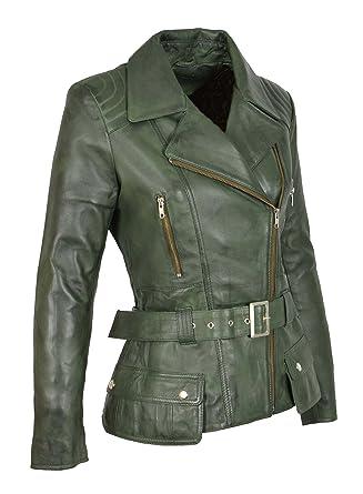 bc2aa5a35 Femmes Veste De Motard Cuir Vert Mince Fit Couper Mode Designer Hip ...