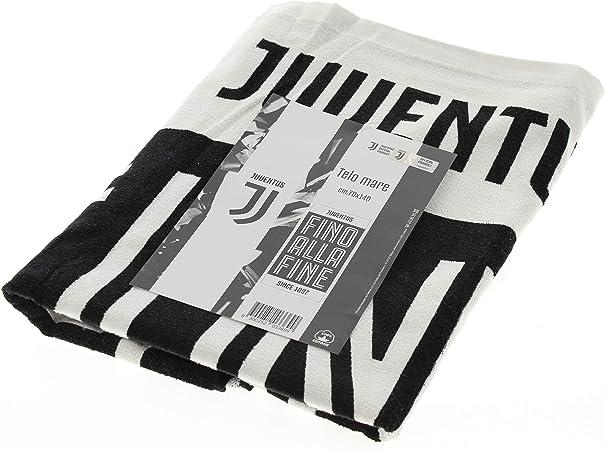 Juventus Asciugamano Ufficiale F.C 2019 Nuovo Logo Telo Mare Juve Spugna Puro Cotone 70x140 cm