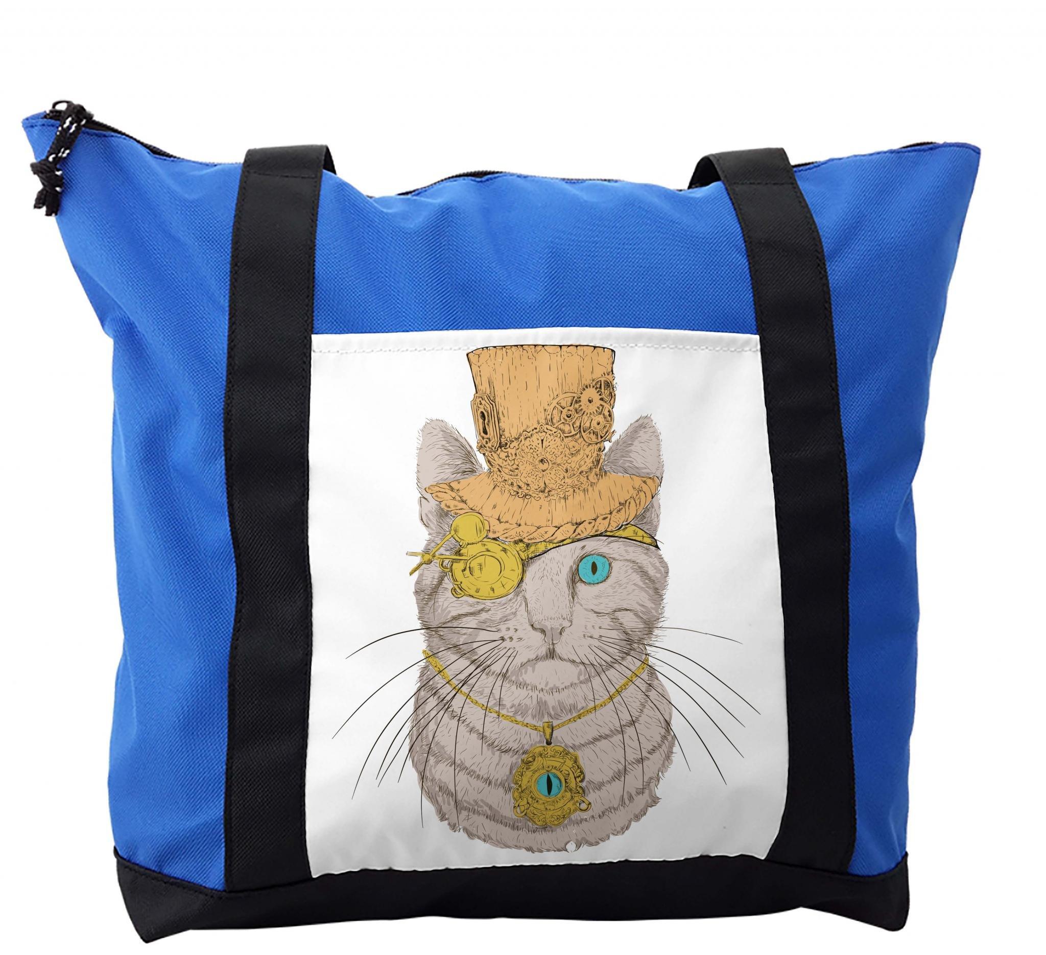 Lunarable Cat Shoulder Bag, Steampunk Cat Vintage Portrait, Durable with Zipper