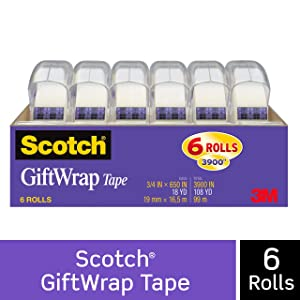 Scotch GiftWrap Tape, Strong and Secure, 3/4 x 650 Inches, 6 Dispensered Rolls (615-GW)