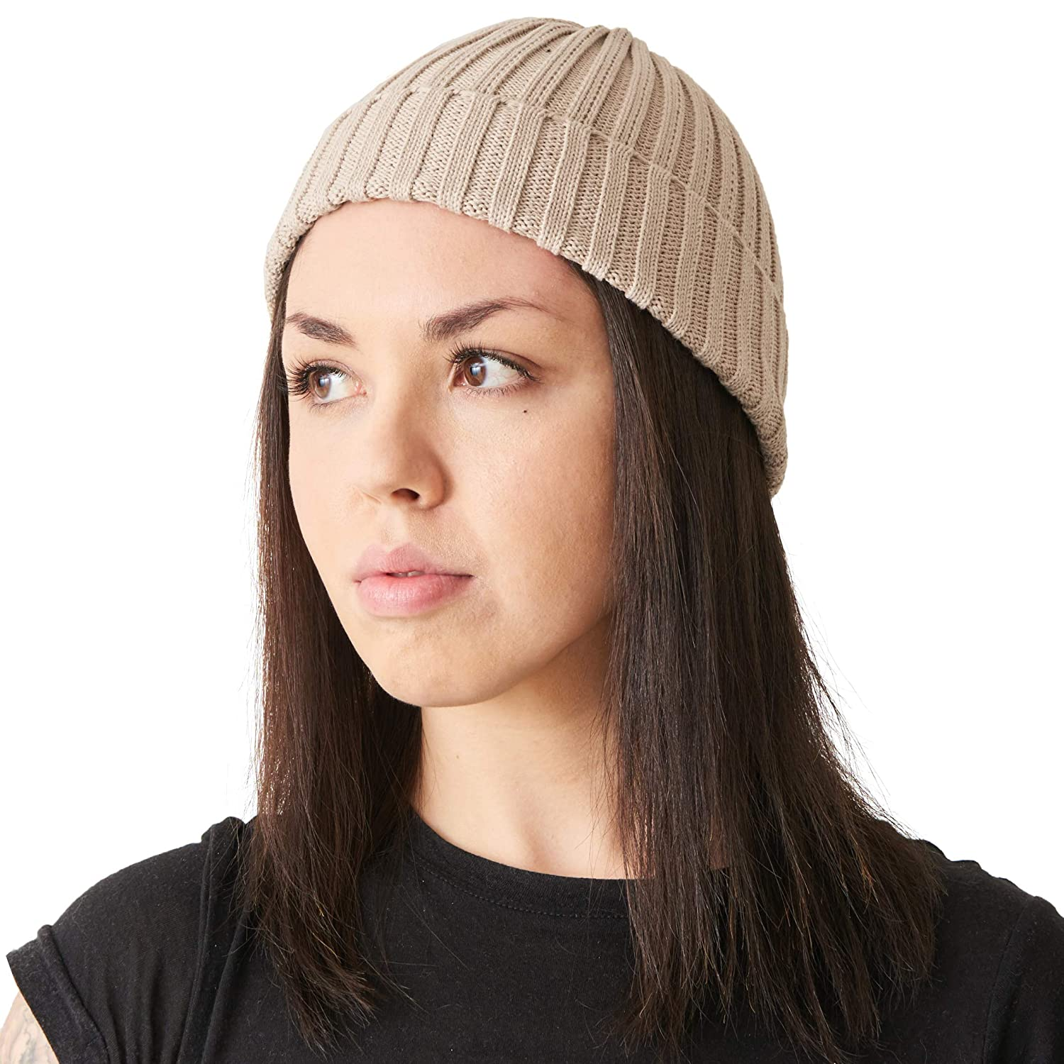 Amazon.com  Mens Fisherman s Beanie Hat - 100% Cotton Ribbed Slouch Cap  Women Chemo Knit Winter Summer Simple Classic Design Beige  Clothing 49ece4031dc