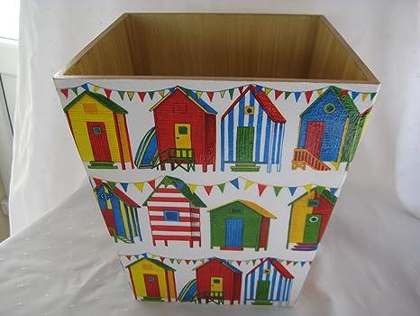Casetas de residuos de papel/basura hechas a mano de madera decoupaged: Amazon.es: Hogar