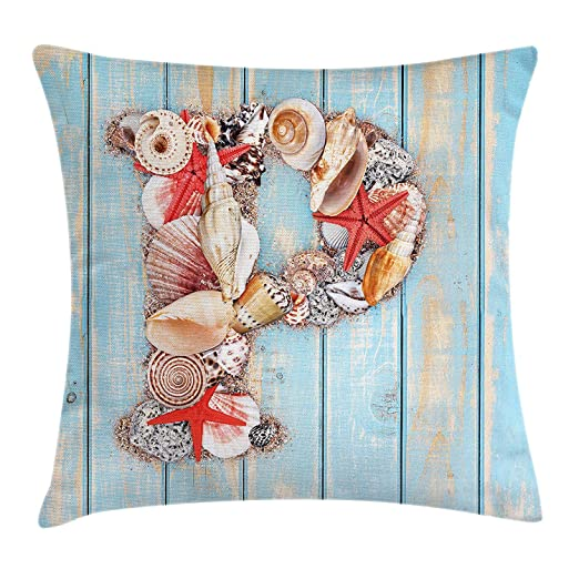 Letter P Throw Pillow Cushion Cover, P Letter Alphabet with ...