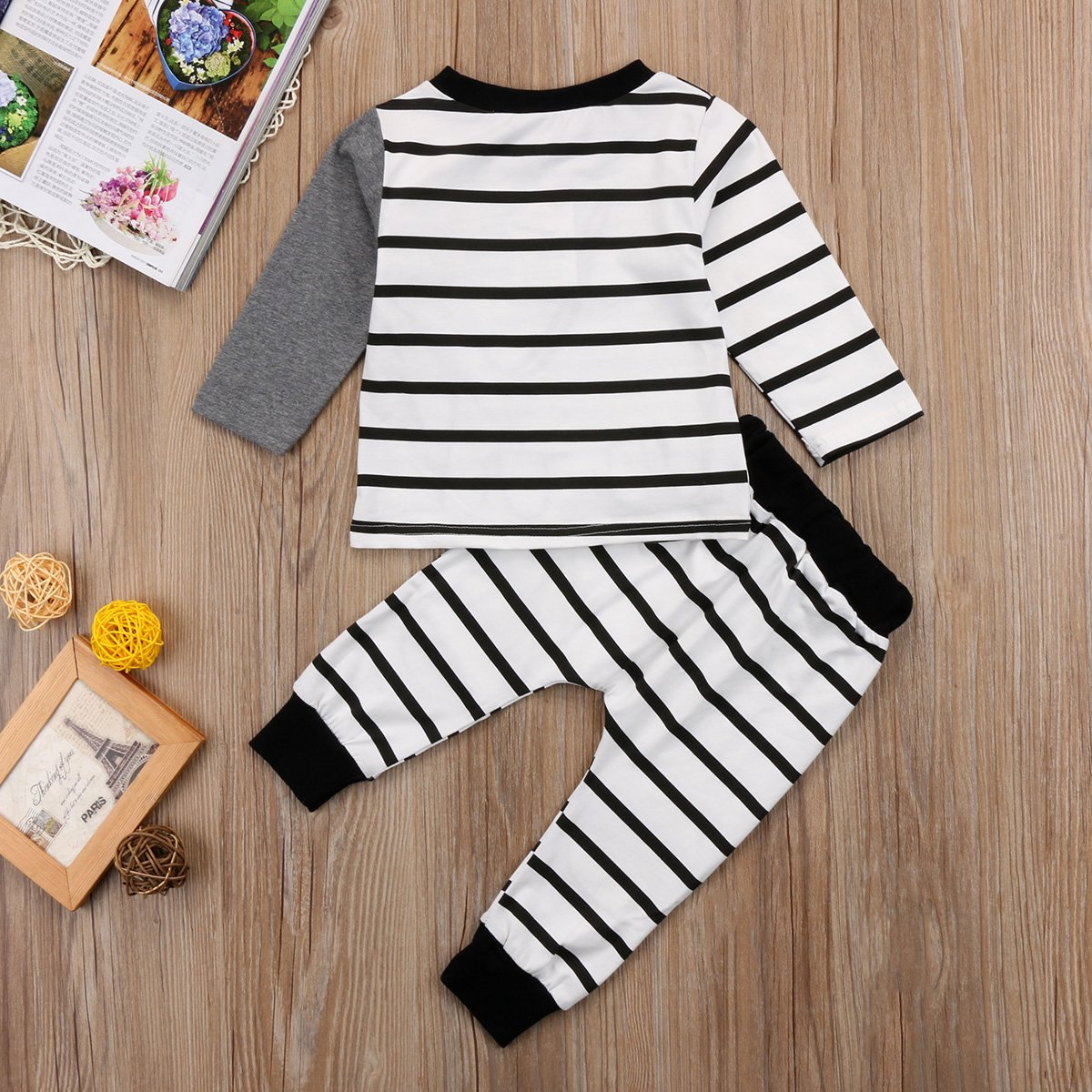 Xegendeiu Toddler Boy Girl Elephant Clothing Set Long Sleeve Print Sweater with Stripe Stretch Leggings Set 2 Piece Outfit
