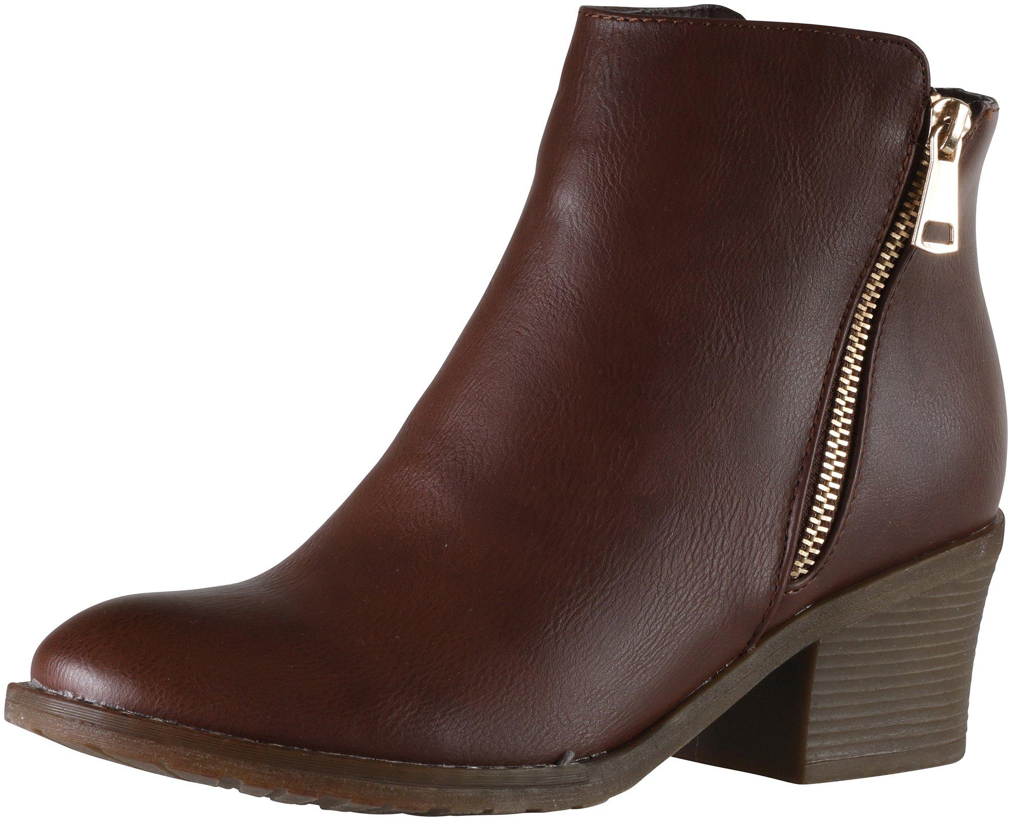 Reneeze Women's Pama-02 Two-tone Metallic Zipper Chunky Heel Ankle Boot (10 B(M) US, Brown)