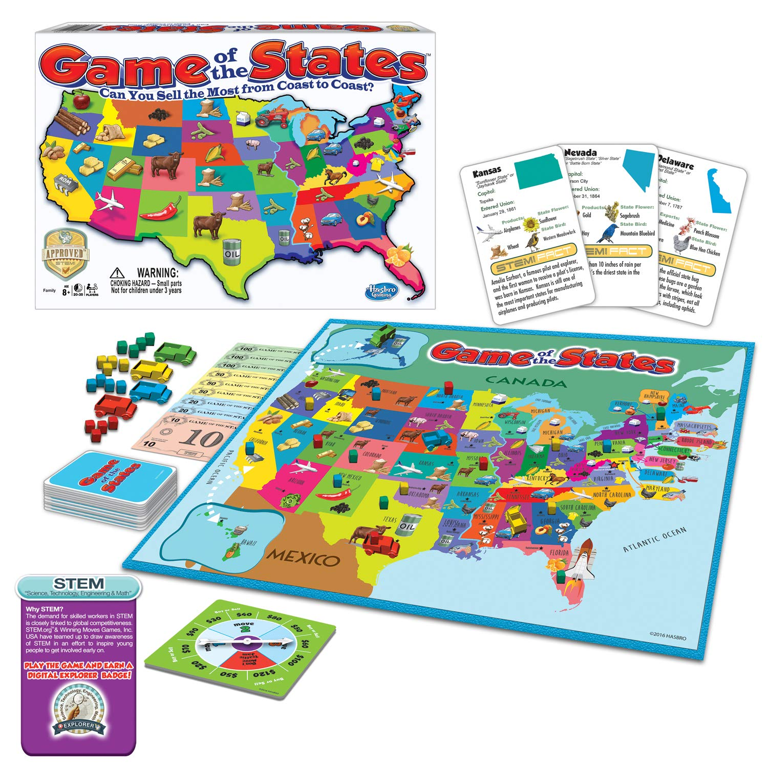 Winning Moves Games Game of The States, Can You Sell The Most from Coast to Coast? Game Board Game by Winning Moves Games