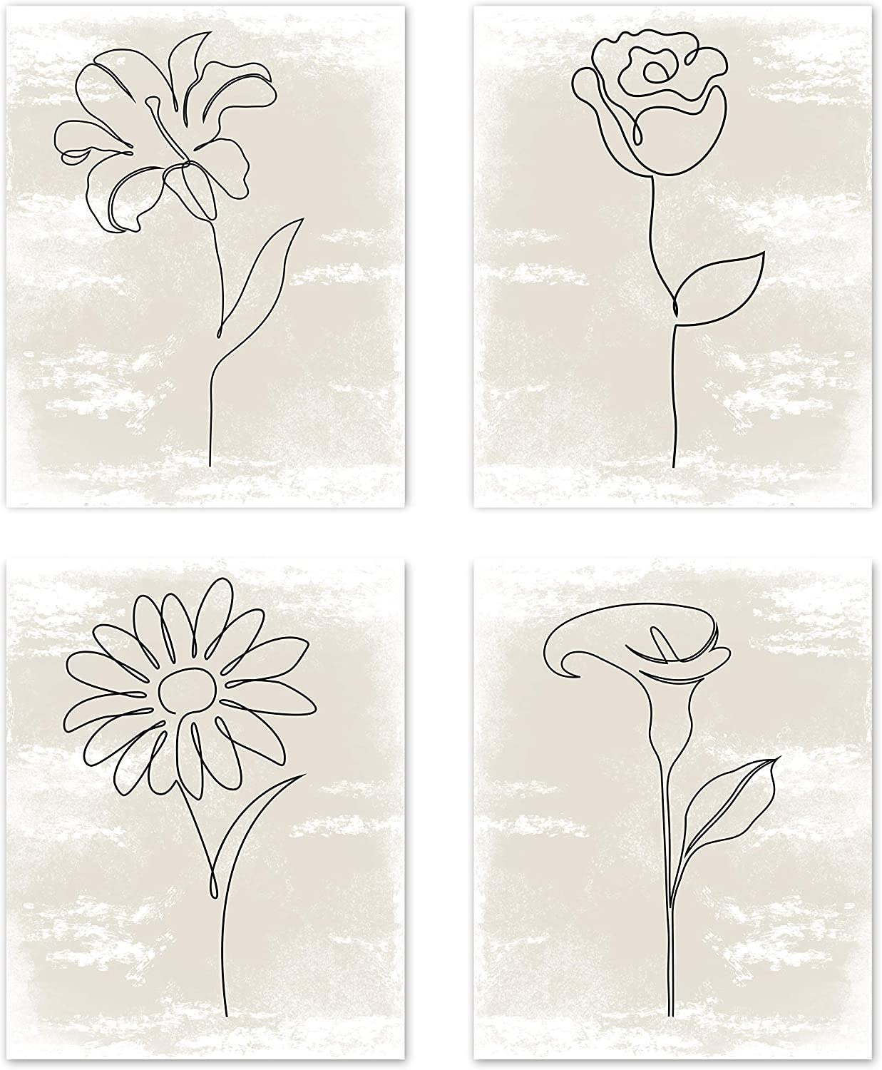 Boho Minimalist Flower Line Art Tan Neutral Watercolor Abstract Farmhouse Wall Art Posters Home Living Room Decor Simple Aesthetic Rose Daisy Wildflower Pictures Prints Decorations Kitchen Bedroom