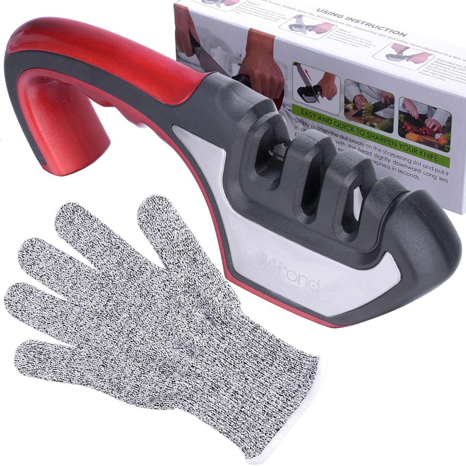 Knife Sharpener - Wifond 3-Stage Home Kitchen Manual Sharpening Kit with Cut-resistant Glove - for Dull Knives Scissors Shears