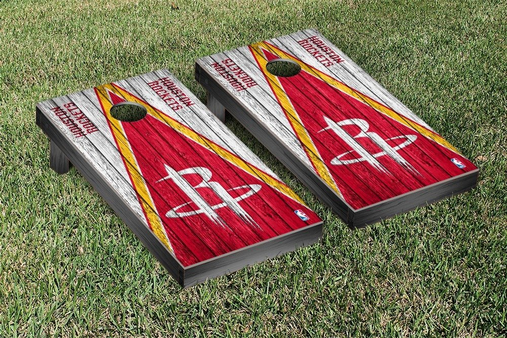 Houston Rockets NBA Basketball Regulation Cornhole Game Set Triangle Weathered Version