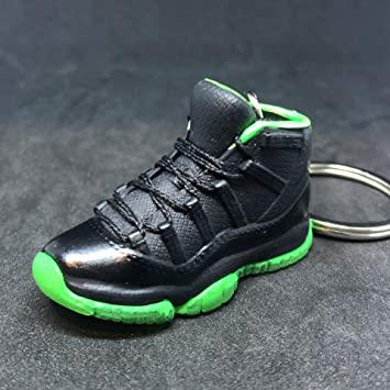 d087c857181 Amazon.com   Air Jordan XI 11 Retro Black Neon Green OG Sneakers Shoes 3D  Keychain Figure   Everything Else