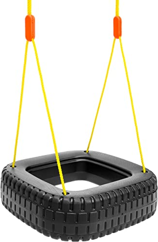 Best Choice Products 2-Children Outdoor Tire Swing Set for Tree, Patio and Backyard- 110lb Capacity
