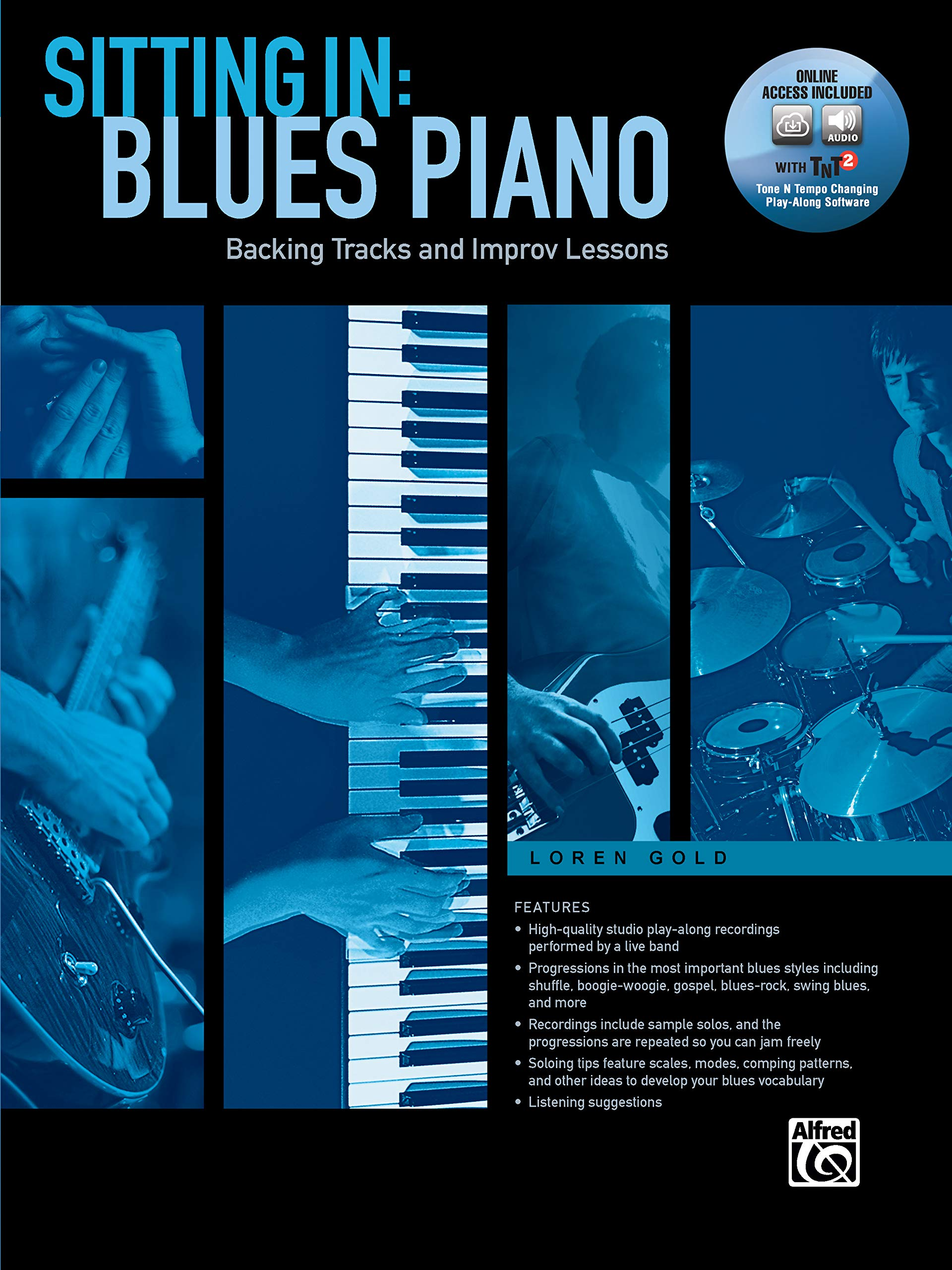 Sitting In - Blues Piano: Backing Tracks and Improv Lessons, Book