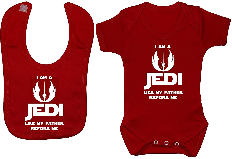 I Am a Jedi Like My Father Before Me Baby Bodysuit//Romper /& Feeding Bib 0 to 12 Months