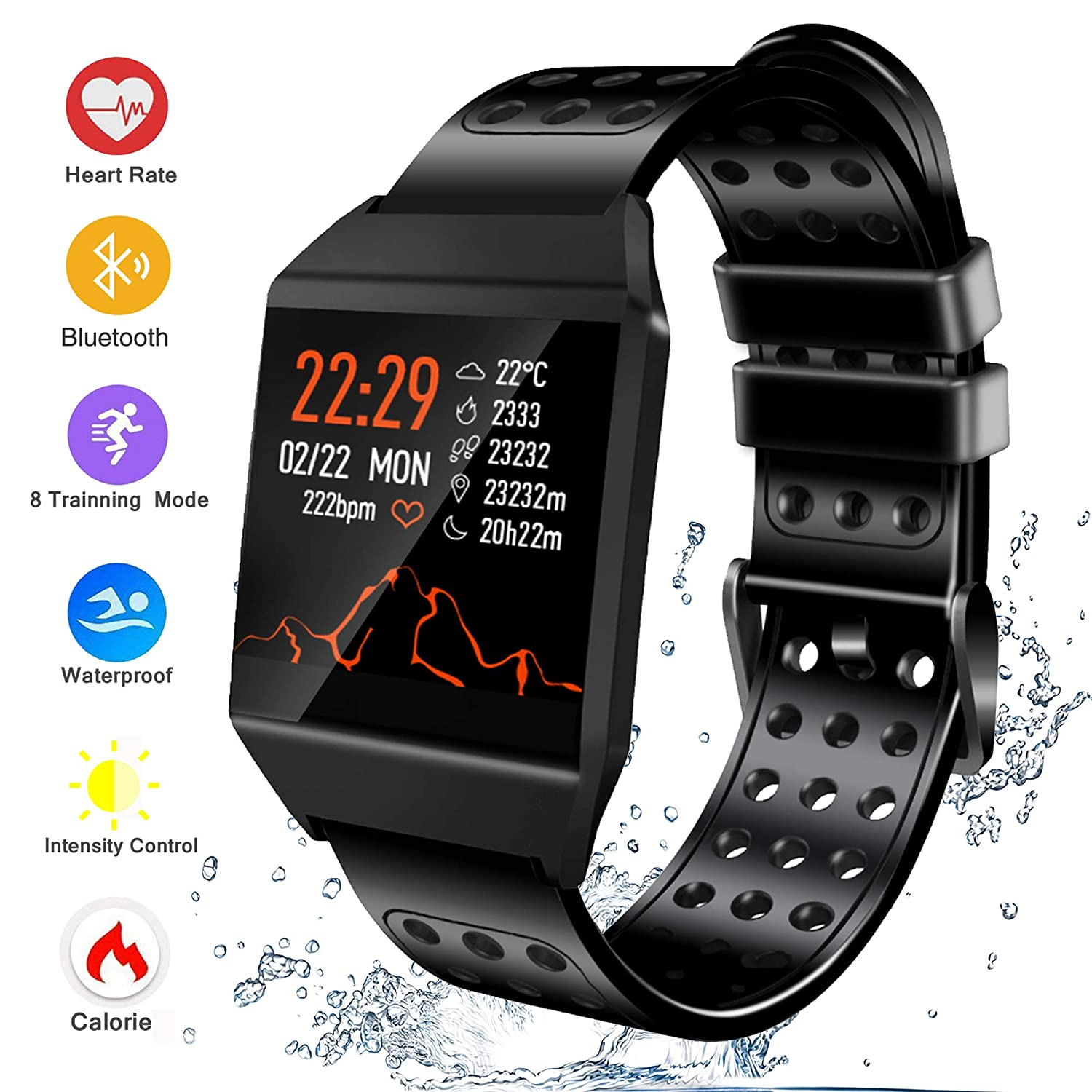 Bluetooth Smart Watch Fitness Tracker, Activity Tracker Heart Rate Sleep Monitor Message Reminder Pedometer Sport Watches Compatible with iOS Android ...