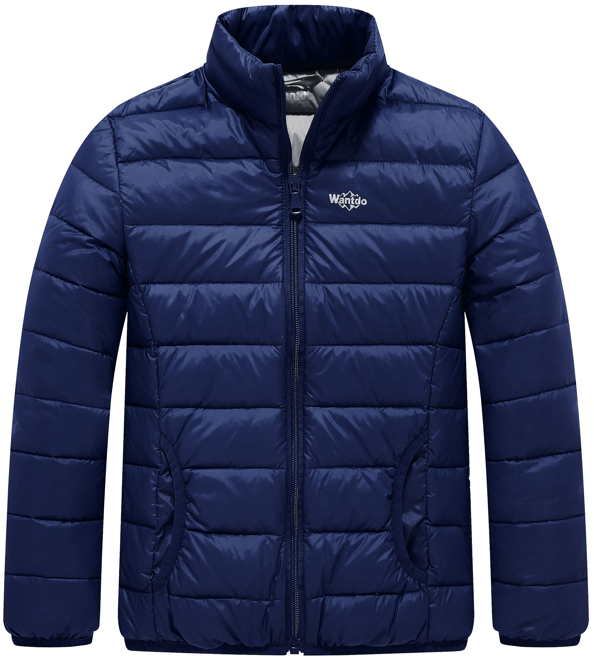 Wantdo Boy's Ultra Light Stand-up Collar Winter Jacket Windproof Travel Down Coats Outwear(Navy, 6/7)