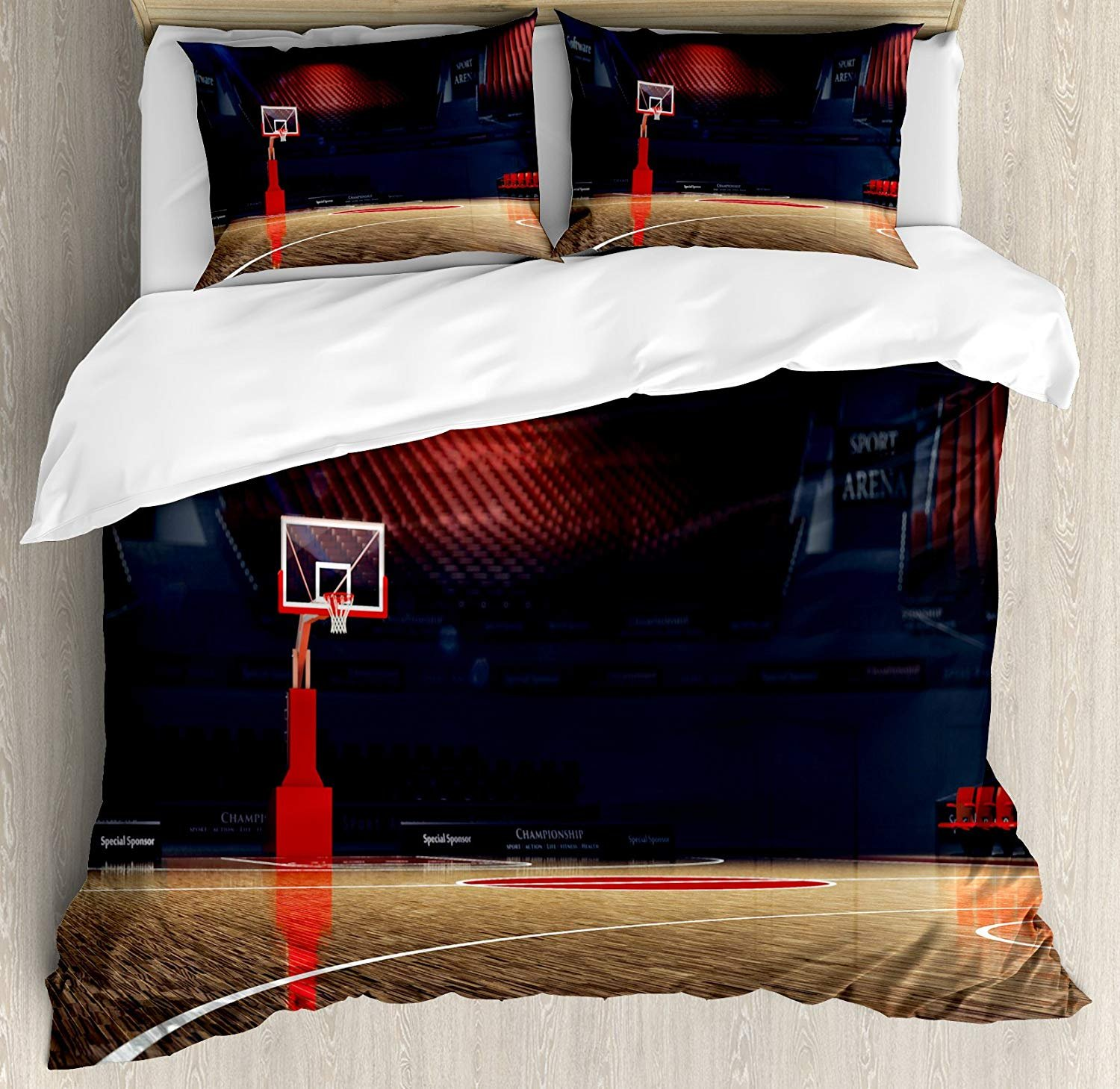 Family Decor Basketball Twin Duvet Cover Sets 4 Piece Bedding Set Bedspread with 2 Pillow Sham, Flat Sheet for Adult/Kids/Teens, Picture of Empty Basketball Court Sport Arena with Wood Floor Print