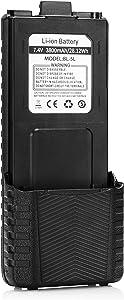 BAOFENG BL-5L 3800mAh Extended Battery Compatible with UV-5R RD-5R UV-5RTP UV-5R Plus, Original Pack, Black