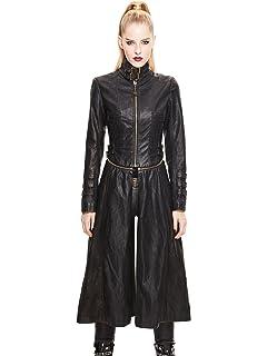 d2c1567b544e5c Devil Fashion Gothic Damen PU Leder Mode Heavy Metal Abnehmbare Jacke  Steampunk Frauen Schwarz Retro Herbst