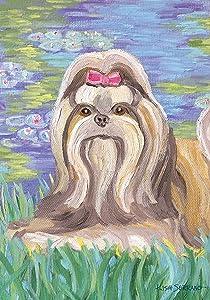 Toland Home Garden Bonnet Shih Tzu 12.5 x 18 Inch Decorative Spring Puppy Dog Flower Portrait Garden Flag