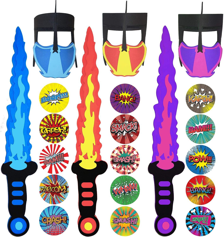 Funtoga 12 / 24 Foam Toy Swords + Masks for Kids Ninja Pirate Weapon Party Bulk Set + Superhero Stickers (3 Swords + 3 Masks (Red, Blue, Pink))