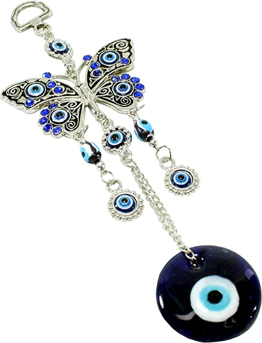 Blue Evil Eye Crystal Owl Wall Car Hanging Protection Amulet Home Decor Gift