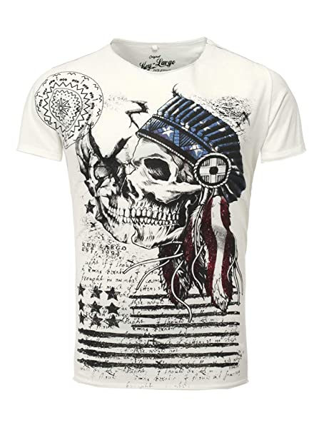 183f6c33cd6dd Key Largo T-Shirt Indian Cráneo Blanco: Amazon.es: Ropa y accesorios