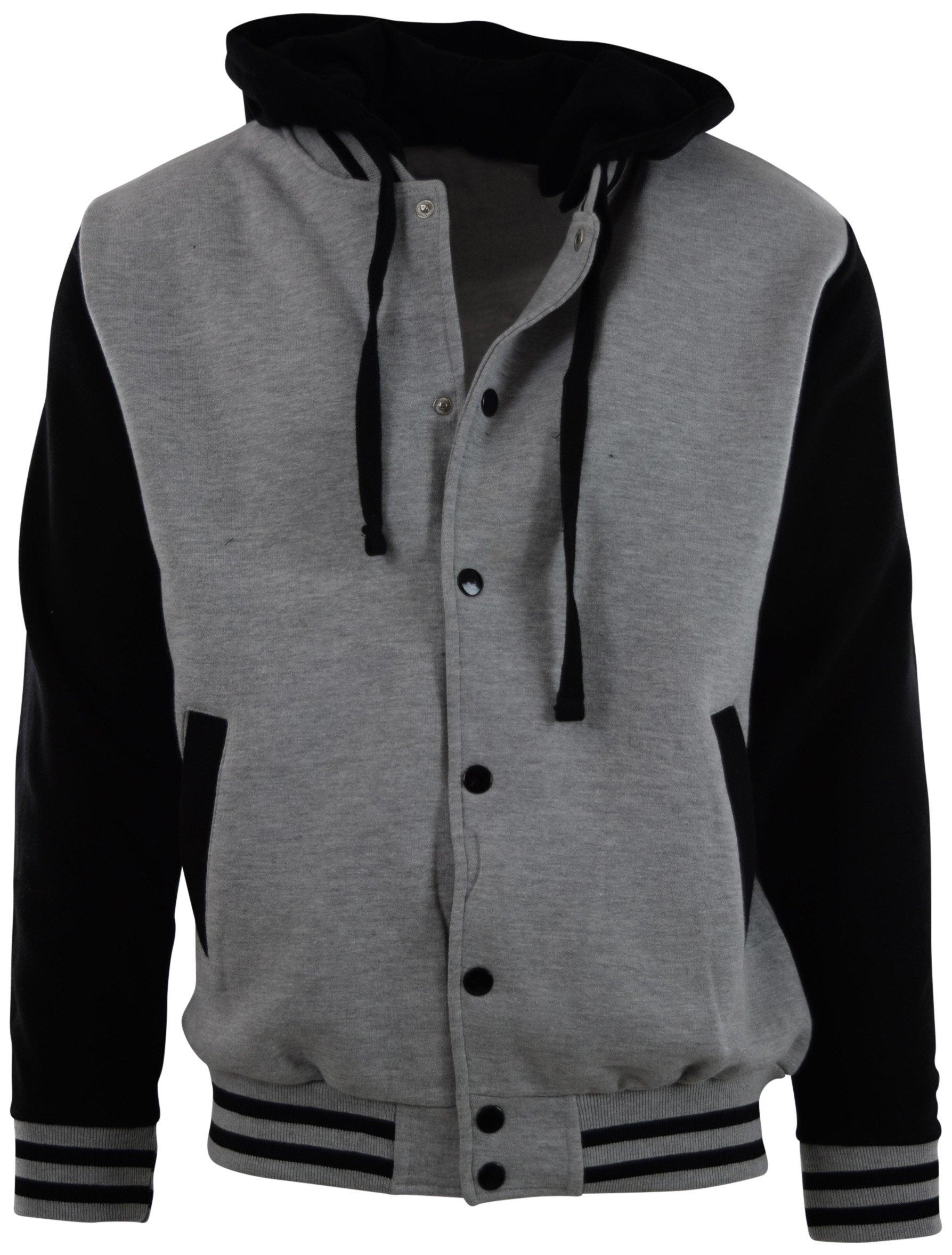 ChoiceApparel Mens Baseball Varsity Jacket with Detachable Hoodie (S, BJ01-Grey/Black)