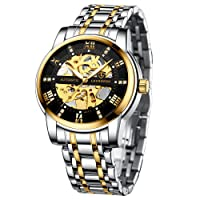 Men's Automatic Watch, Skeleton Mechanical Movement, Glass Base, Roman Numerals, Diamond Dial, Waterproof, With Stainless Steel Strap, Black