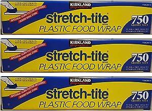 Kirkland Signature Stretch Tite Plastic Food Wrap 11 7/8 Inch X 750 SQ. FT. Pack 3