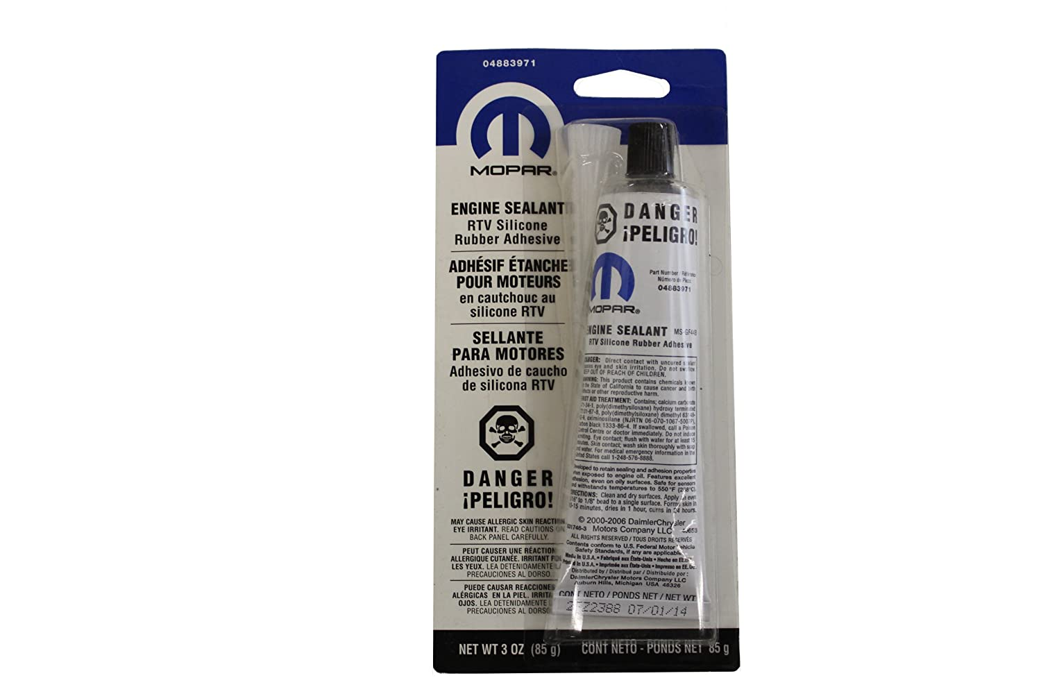 Genuine Chrysler Accessories 4883971 RTV Silicone Rubber Adhesive Engine Sealant - 3 oz. Tube 4883971AB