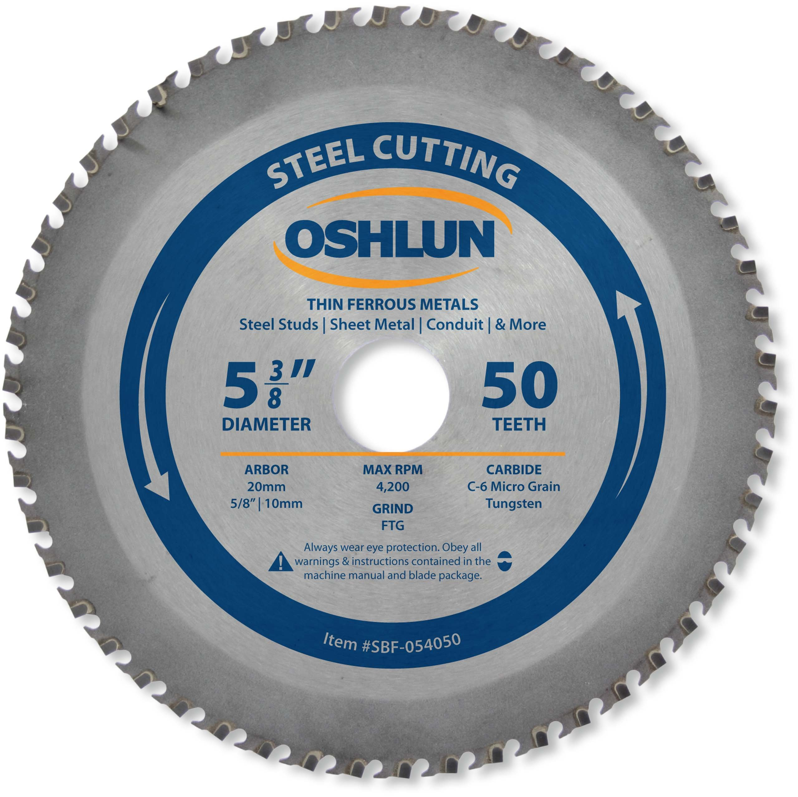 Oshlun SBF-054050 5-3/8-Inch 50 Tooth FTG Saw Blade with 20mm Arbor (5/8-Inch and 10mm Bushings) for Thin Mild Steel and Ferrous Metals