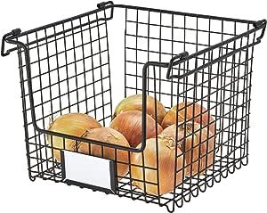InterDesign Classico Stackable Storage Basket with Handles for Pantry, Kitchen, Bathroom, Countertop, and Desk Organization Medium
