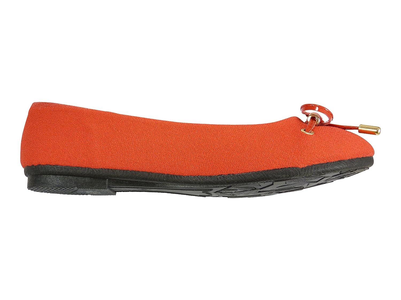 Bailarinas zapatillas para mujer tejido de lona y lazo, dise?o de pintau?as, Rojo (rojo), 37