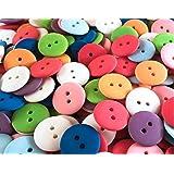 100 bunt gemischte unifarbene Näh- und Bastelknöpfe aus mattiertem Kunststoff - 18 mm Durchmesser rund - Bunte Mischung Zweilochknöpfe zum Scrapbooking, Nähen, Basteln und Dekorieren