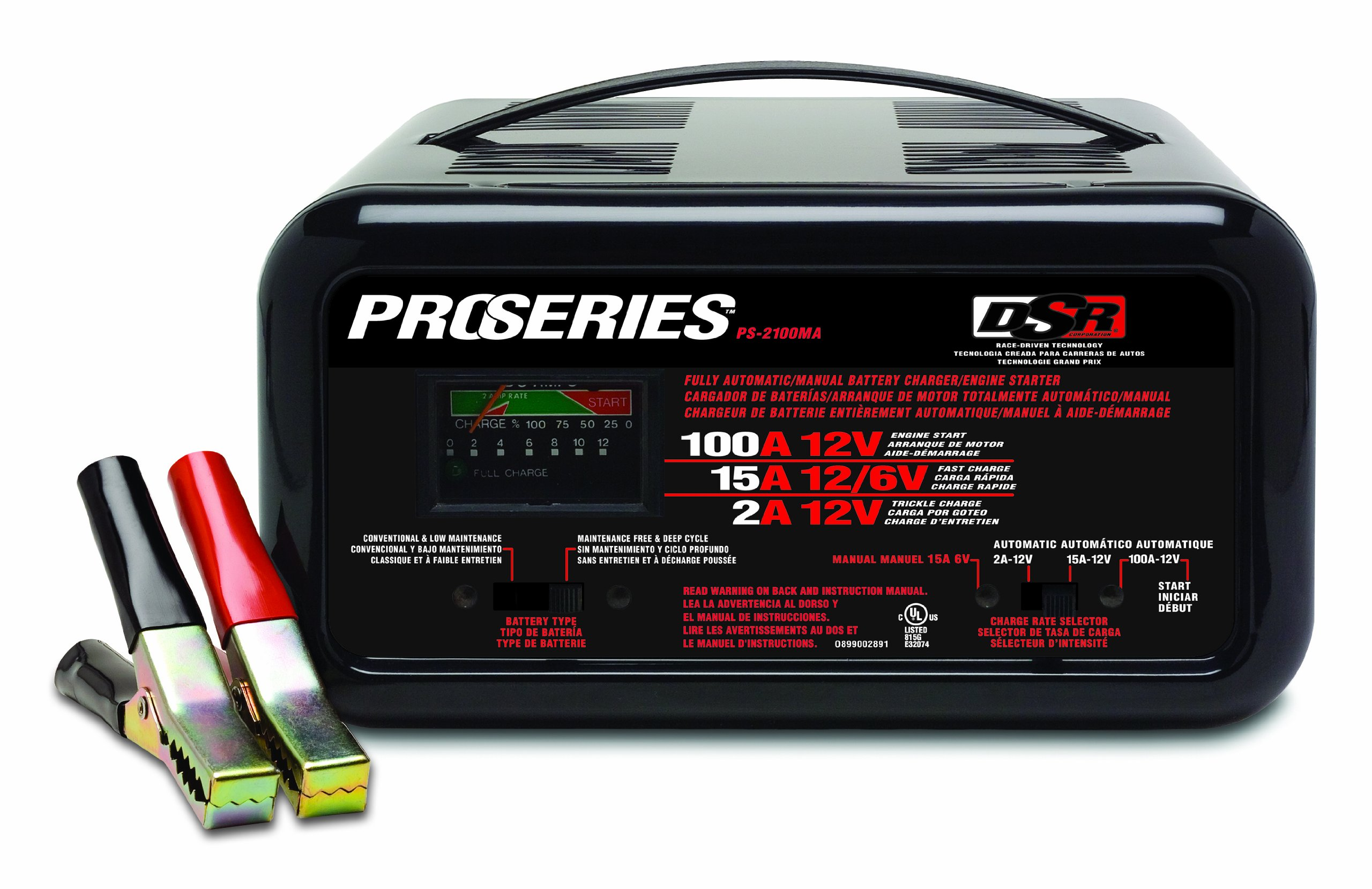 Schumacher PS-2100MA DSR ProSeries 2/15/100 Amp 6/12 Volt Automatic or Manual Bench Battery Charger/Starter