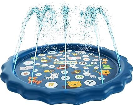 SplashEZ 3-in-1 Sprinkler for Kids, Splash Pad, and Wading Pool for Learning - Children's Sprinkler Pool, 60'' Inflatable Water Toys -