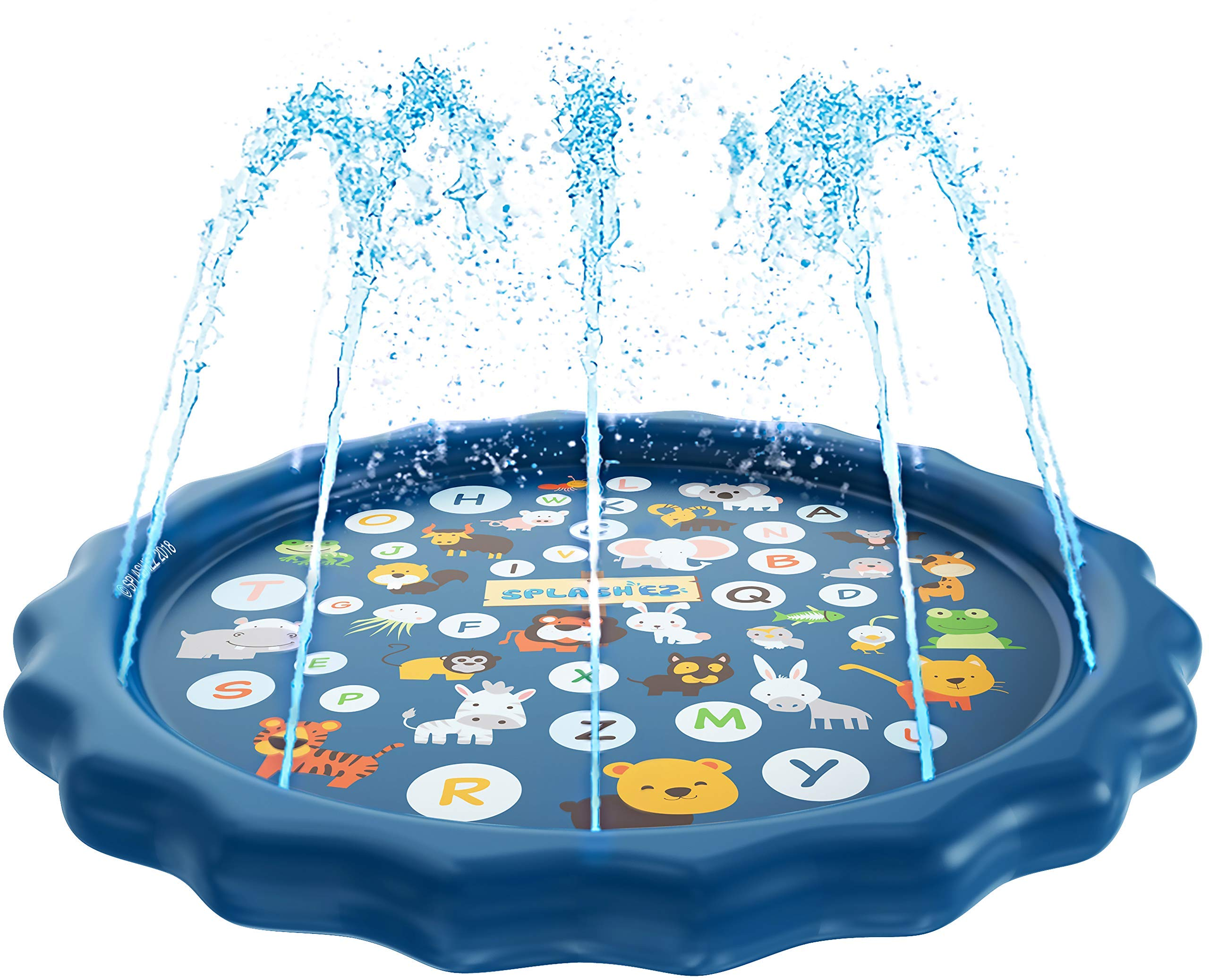 SplashEZ 3-in-1 Sprinkler for Kids, Splash Pad, and Wading Pool for Learning - Children's Sprinkler Pool, 60'' Inflatable Water Toys - ''from A to Z'' Outdoor Swimming Pool for Babies and Toddlers