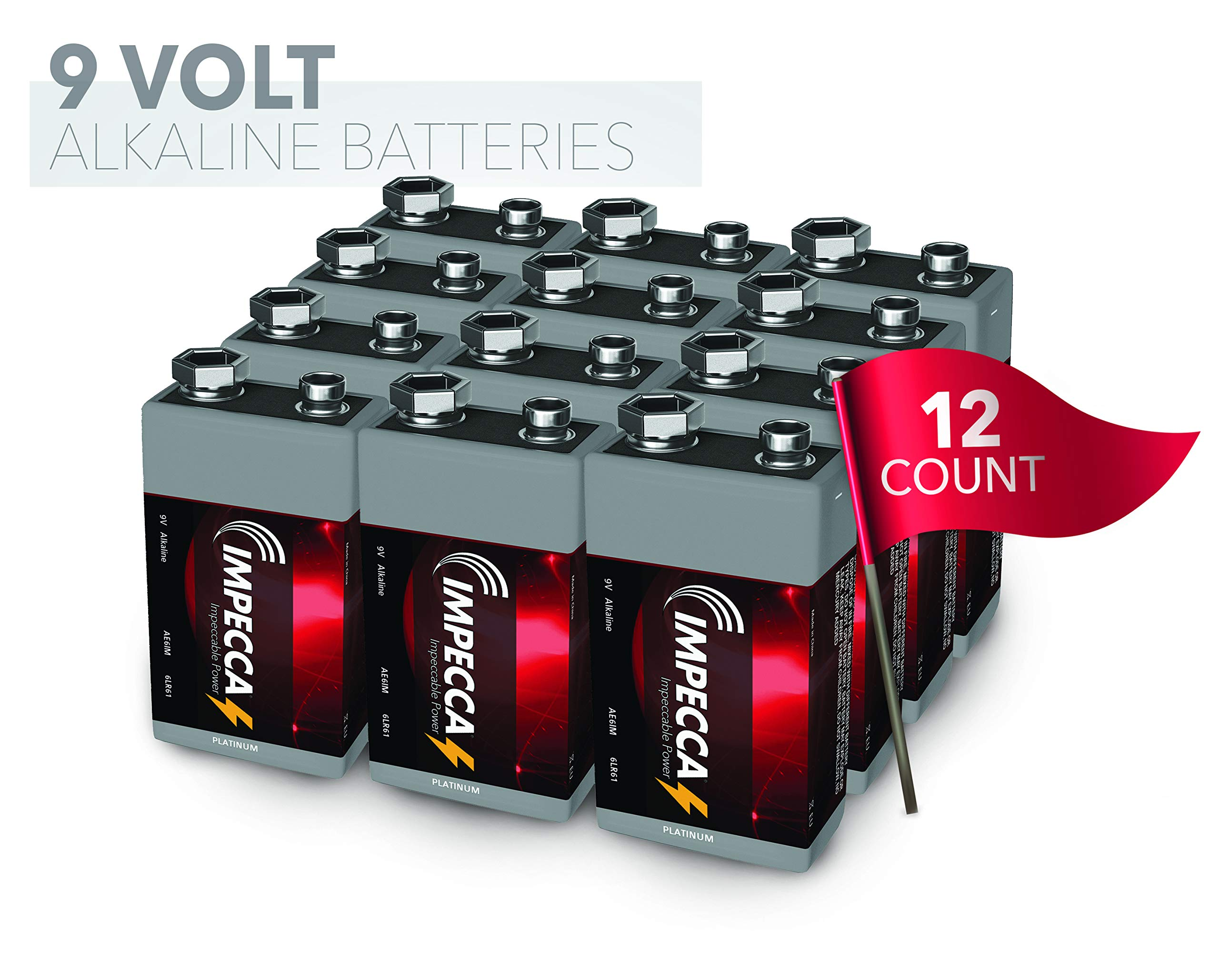 IMPECCA 9-Volt Batteries, (12 Pack) Everyday Alkaline Battery, High Performance, Long Lasting, and Leak Resistant 9V Battery, 12 Count 6LR61 - Platinum Series
