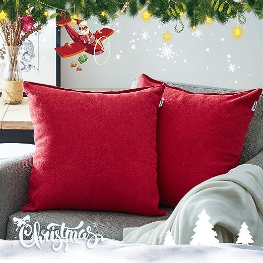 Topfinel juego 2 Hogar Algodón Lino Decorativa Almohadas Fundas de color sólido Para Sala de Estar sofás 50x50cm Rojo
